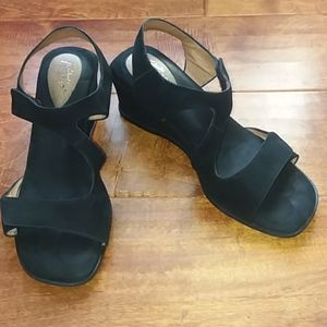 Clarks leather wedge sandals w/ velcro straps